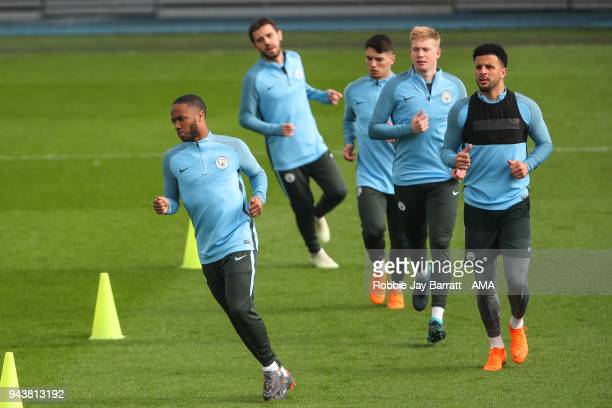 Raheem Sterling of Manchester City during a Press Conference and Training Session at Manchester City Football Academy on April 9 2018 in Manchester...