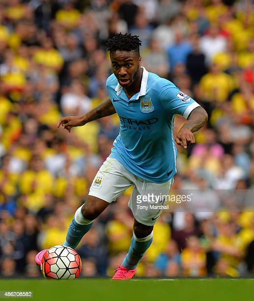 Raheem Sterling of Manchester City during the Barclays Premier League match between Manchester City and Watford at the Etihad Stadium on August 29...