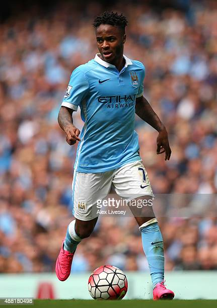 Raheem Sterling of Manchester City during the Barclays Premier League match between Manchester City and Watford at Etihad Stadium on August 29 2015...