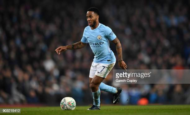 Raheem Sterling of Manchester City during the Carabao Cup SemiFinal First Leg match between Manchester City and Bristol City at Etihad Stadium on...