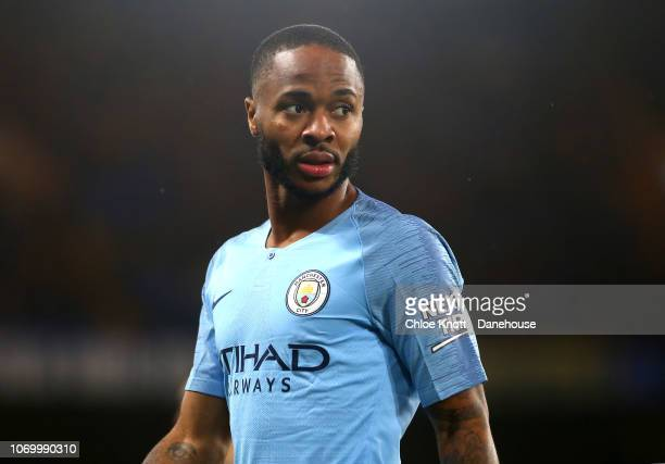 LONDON ENGLAND DECEMBER 08 Raheem Sterling of Manchester City during the Premier League match between Chelsea FC and Manchester City at Stamford...