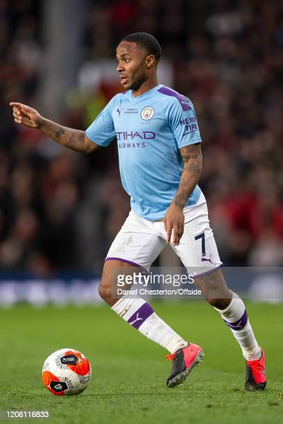 Raheem Sterling of Manchester City during the Premier League match between Manchester United and Manchester City at Old Trafford on March 8 2020 in...