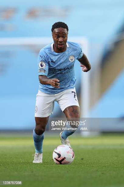 Raheem Sterling of Manchester City during the Premier League match between Manchester City and Leicester City at Etihad Stadium on September 27 2020...