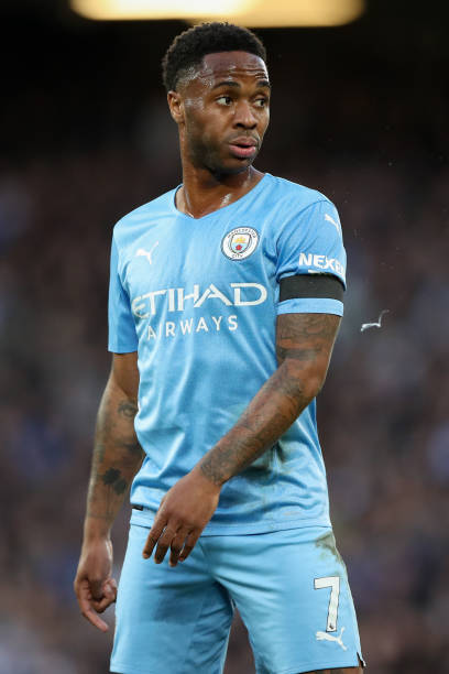 Raheem Sterling of Manchester City during the Premier League match between Liverpool and Manchester City at Anfield on October 3, 2021 in Liverpool,...
