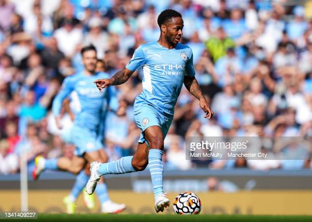 Raheem Sterling of Manchester City during the Premier League match between Manchester City and Southampton at Etihad Stadium on September 18, 2021 in...