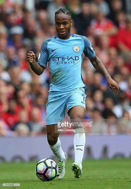 Raheem Sterling of Manchester City during the Premier League match between Manchester United and Manchester City at Old Trafford on September 10 2016...