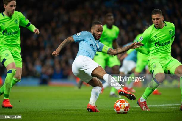 Raheem Sterling of Manchester City during the UEFA Champions League match between Manchester City and FC Schalke 04 at the Etihad Stadium Manchester...