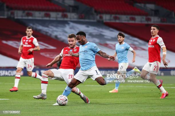 Raheem Sterling of Manchester City in action during the FA Cup Semi Final match between Arsenal and Manchester City at Wembley Stadium on July 18...