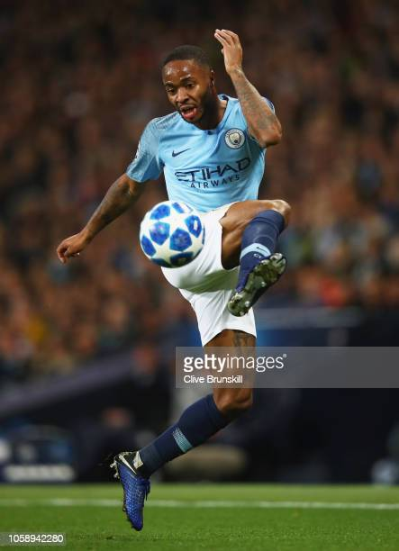 Raheem Sterling of Manchester City in action during the Group F match of the UEFA Champions League between Manchester City and FC Shakhtar Donetsk at...