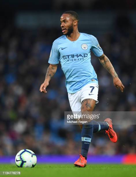 Raheem Sterling of Manchester City in action during the Premier League match between Manchester City and Watford FC at Etihad Stadium on March 09...