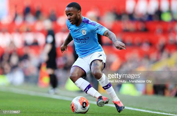 Raheem Sterling of Manchester City in action during the Premier League match between Manchester United and Manchester City at Old Trafford on March...
