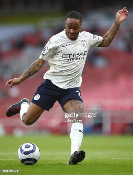 Raheem Sterling of Manchester City in action during the Premier League match between Arsenal and Manchester City at Emirates Stadium on February 21,...