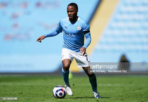 Raheem Sterling of Manchester City in action during the Premier League match between Manchester City and Leeds United at Etihad Stadium on April 10,...