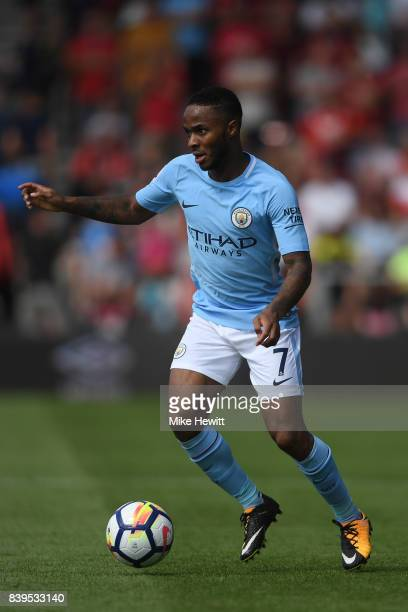 Raheem Sterling of Manchester City in action during the Premier League match between AFC Bournemouth and Manchester City at Vitality Stadium on...