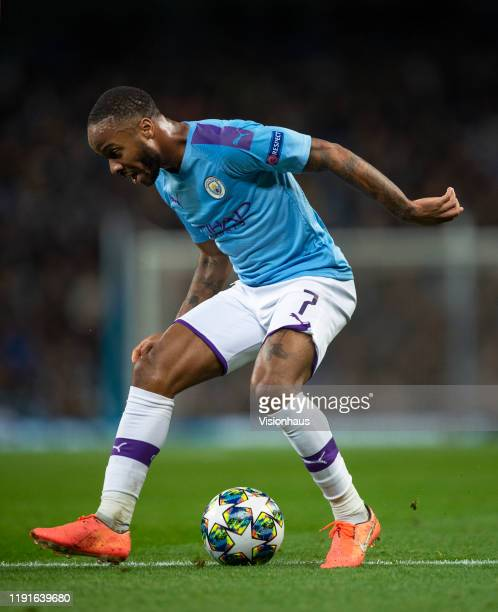 Raheem Sterling of Manchester City in action during the UEFA Champions League group C match between Manchester City and Shakhtar Donetsk at Etihad...