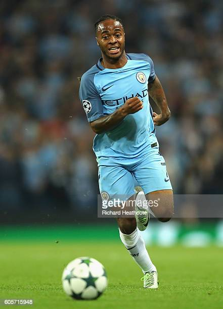 Raheem Sterling of Manchester City in action during the UEFA Champions League match between Manchester City FC and VfL Borussia Moenchengladbach at...