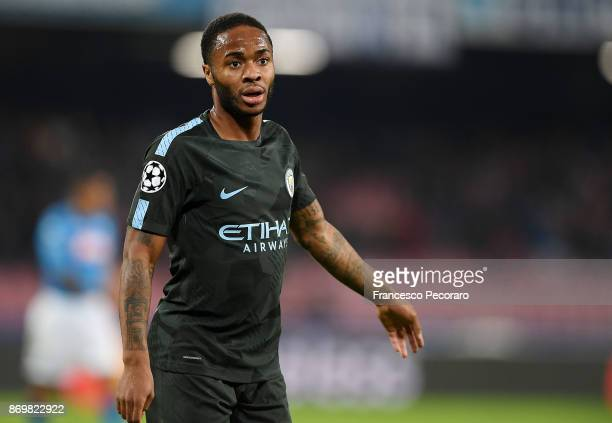 Raheem Sterling of Manchester City in action during the UEFA Champions League group F match between SSC Napoli and Manchester City at Stadio San...