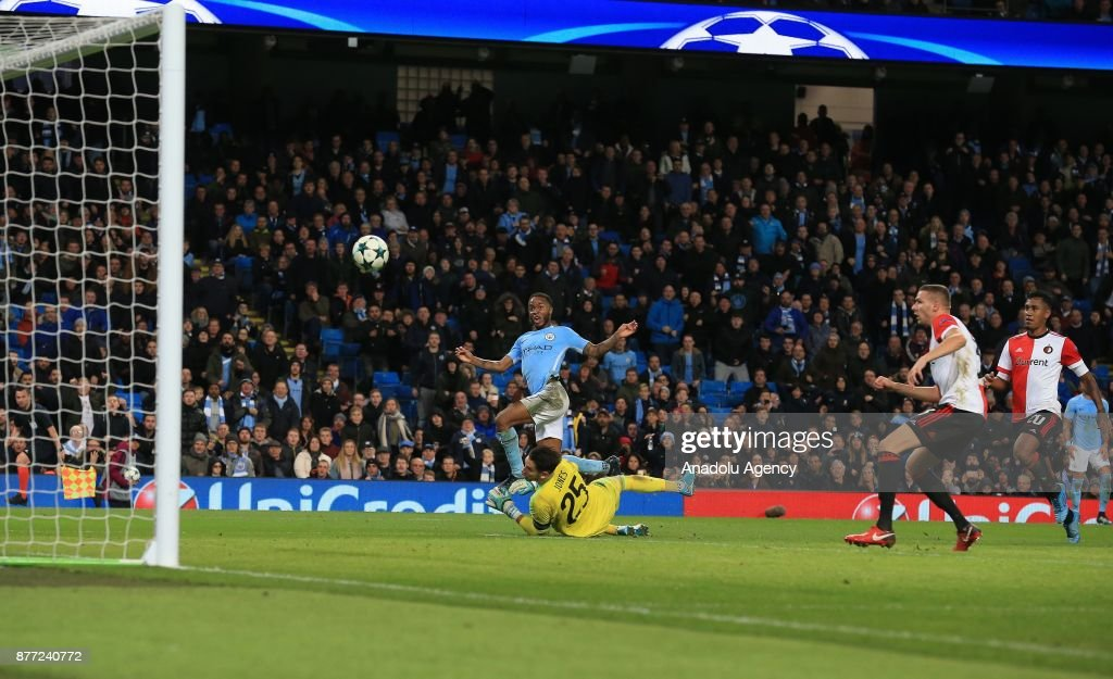 Raheem Sterling (L) of Manchester City in action during the UEFA Champions League Group F soccer match between Manchester City FC and Feyenoord Rotterdam at the Etihad Stadium in Manchester, United Kingdom on November 21, 2017.
