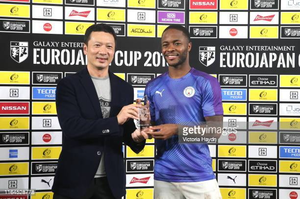 Raheem Sterling of Manchester City is awarded with the man of the match award during the preseason friendly match between Yokohama FMarinos and...
