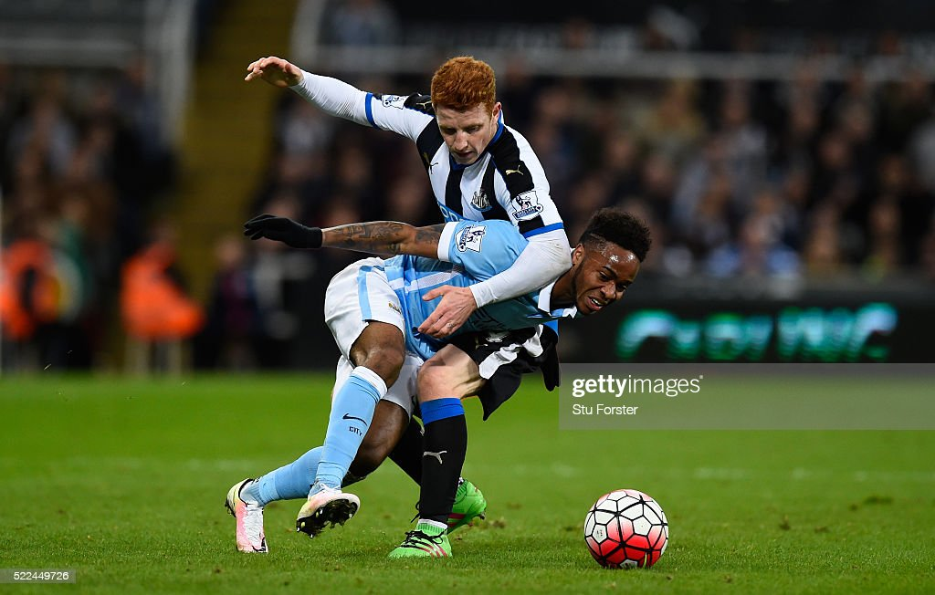 Raheem Sterling of Manchester City is challenged by Jack Colback of Newcastle United during the Barclays Premier League match between Newcastle United and Manchester City at St James' Park on April 19, 2016 in Newcastle, England.