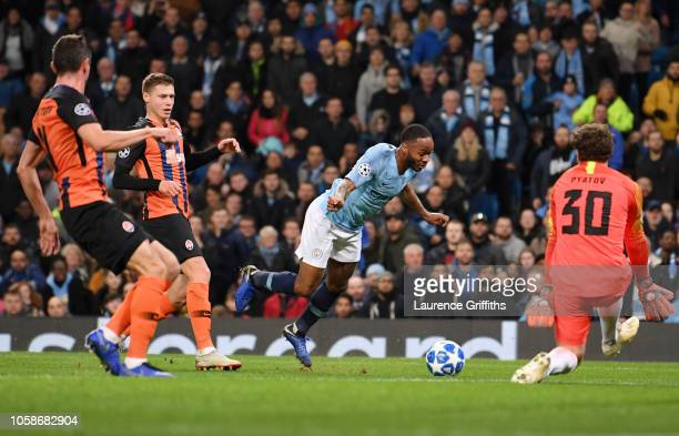 Raheem Sterling of Manchester City is fouled and a penalty is awarded during the Group F match of the UEFA Champions League between Manchester City...