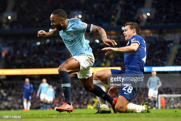 Raheem Sterling of Manchester City is fouled by Cesar Azpilicueta of Chelsea and a penalty is later awarded to Manchester City during the Premier...
