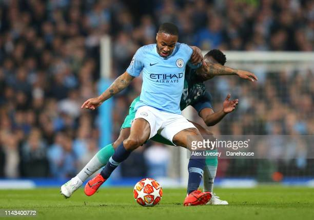Raheem Sterling of Manchester City is tackled by Victor Wanyama of Tottenham Hotspur during the UEFA Champions League Quarter Final second leg match...