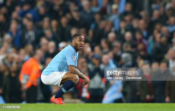 Raheem Sterling of Manchester City looks dejected after his goal is disallowed by VAR during the UEFA Champions League Quarter Final second leg match...