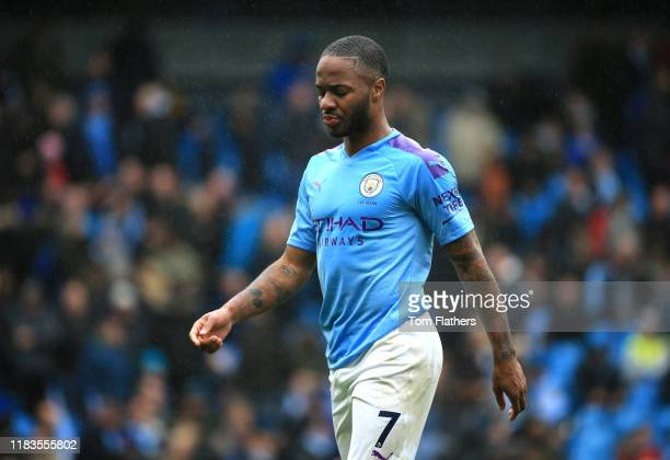 Raheem Sterling of Manchester City looks dejected during the Premier League match between Manchester City and Aston Villa at Etihad Stadium on...