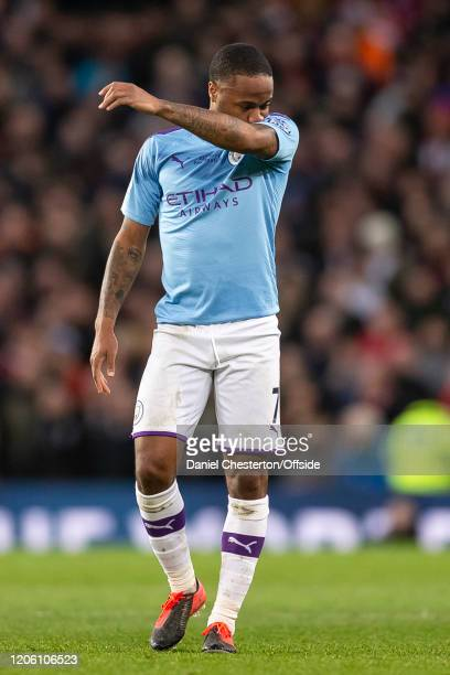 Raheem Sterling of Manchester City looks dejected during the Premier League match between Manchester United and Manchester City at Old Trafford on...