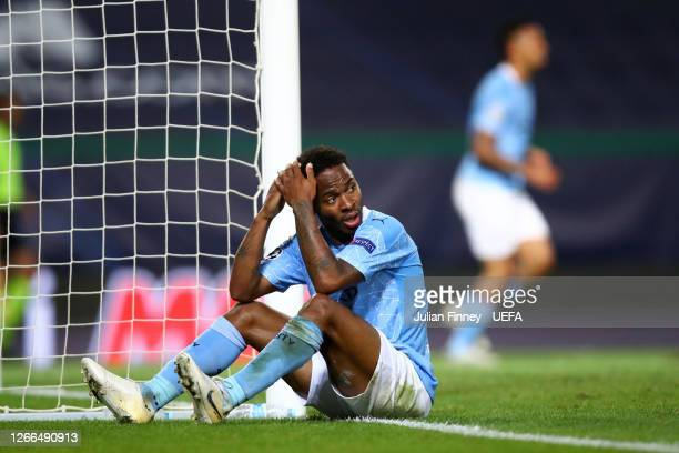 Raheem Sterling of Manchester City looks dejected during the UEFA Champions League Quarter Final match between Manchester City and Lyon at Estadio...