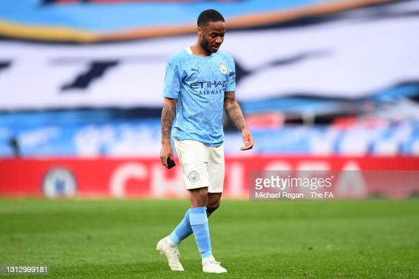 Raheem Sterling of Manchester City looks dejected following his team's defeat in the Semi Final of the Emirates FA Cup match between Manchester City...