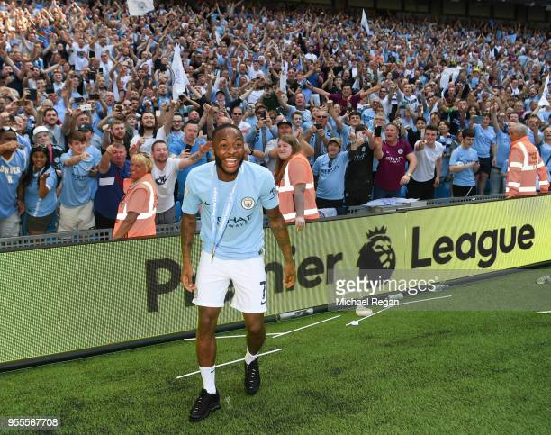 Raheem Sterling of Manchester City looks on after the Premier League match between Manchester City and Huddersfield Town at Etihad Stadium on May 6...