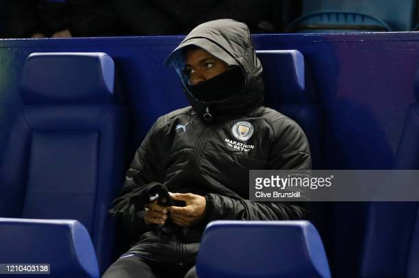 Raheem Sterling of Manchester City looks on from the substitute bench prior to the FA Cup Fifth Round match between Sheffield Wednesday and...