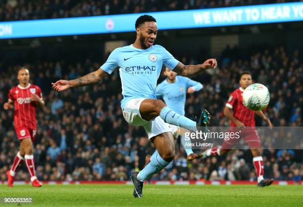 Raheem Sterling of Manchester City misses a chance during the Carabao Cup SemiFinal First Leg match between Manchester City and Bristol City at...