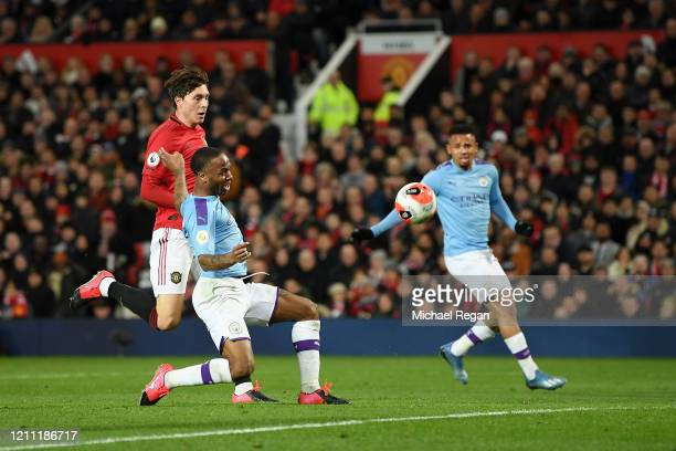 Raheem Sterling of Manchester City misses a chance during the Premier League match between Manchester United and Manchester City at Old Trafford on...