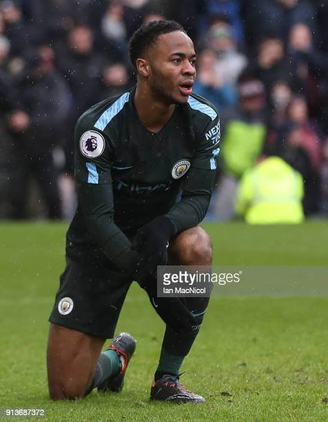 Raheem Sterling of Manchester City reacts after a miss during the Premier League match between Burnley and Manchester City at Turf Moor on February 3...