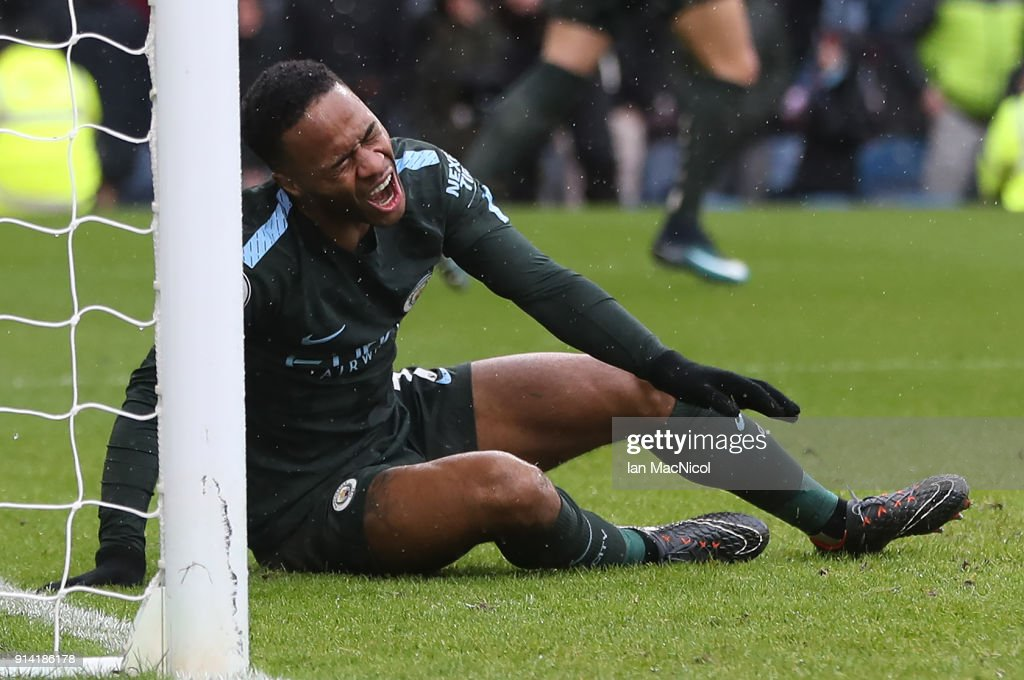 Raheem Sterling of Manchester City reacts after a miss during the Premier League match between Burnley and Manchester City at Turf Moor on February 3, 2018 in Burnley, England.