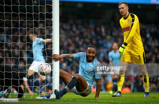 Raheem Sterling of Manchester City reacts after his team's third goal during the FA Cup Third Round match between Manchester City and Rotherham...