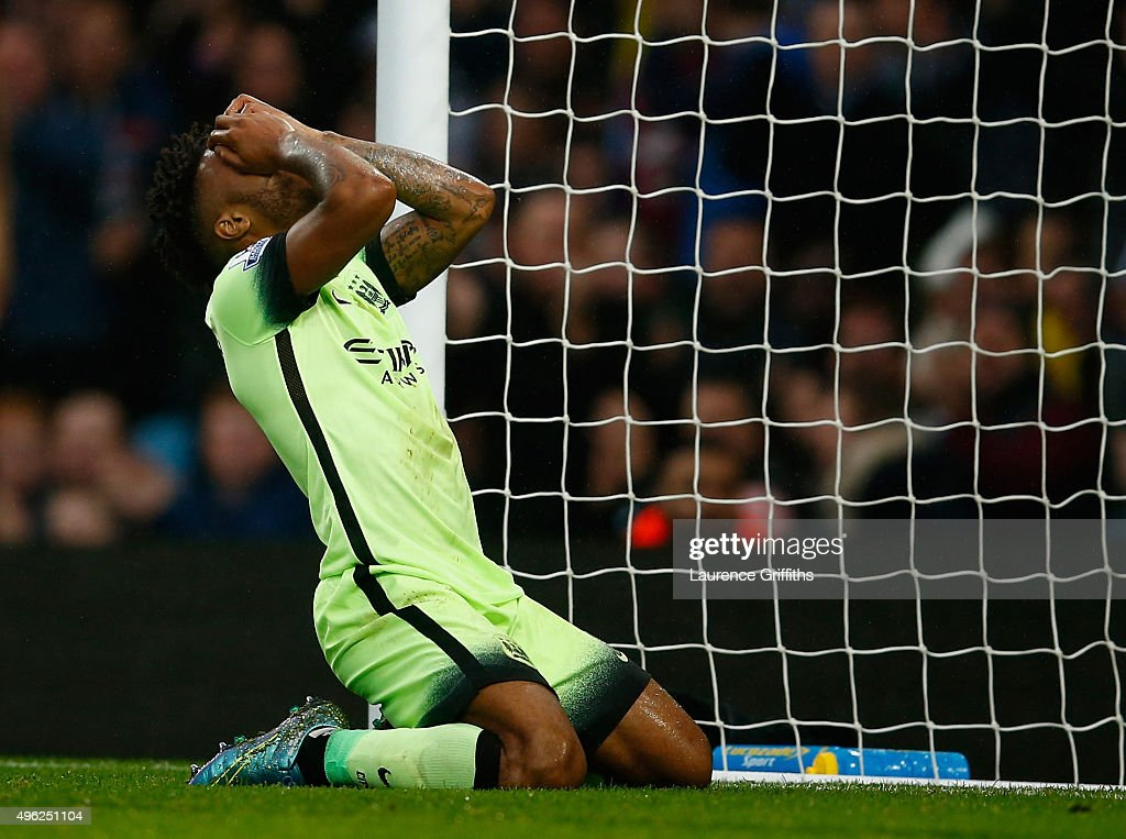 Raheem Sterling of Manchester City reacts after missing a chance on goal during the Barclays Premier League match between Aston Villa and Manchester City at Villa Park on November 8, 2015 in Birmingham, England.