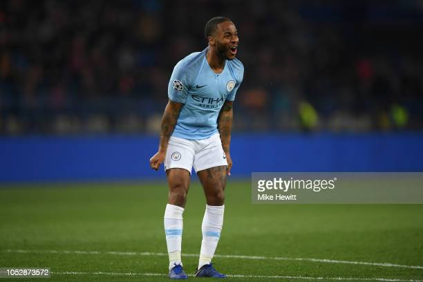 Raheem Sterling of Manchester City reacts after missing a chance during the Group F match of the UEFA Champions League between FC Shakhtar Donetsk...