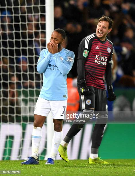 Raheem Sterling of Manchester City reacts after missing his team's second penalty during the Carabao Cup Quarter Final match between Leicester City...