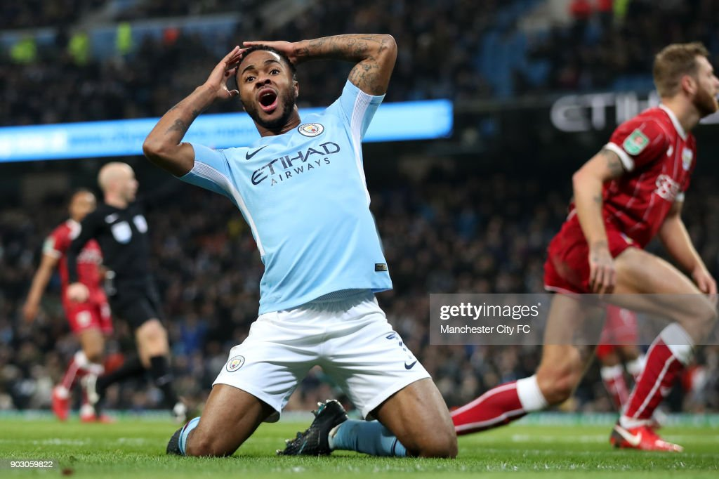 Raheem Sterling of Manchester City reacts during the Carabao Cup Semi-Final First Leg match between Manchester City and Bristol City at Etihad Stadium on January 9, 2018 in Manchester, England.