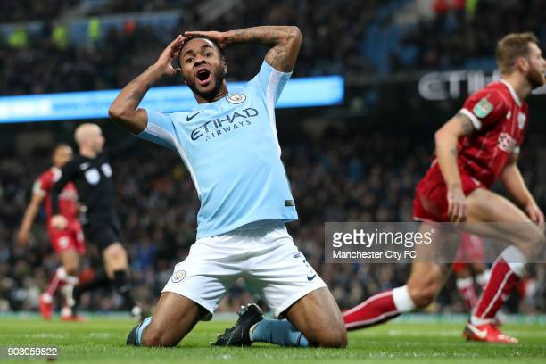 Raheem Sterling of Manchester City reacts during the Carabao Cup Semi-Final First Leg match between Manchester City and Bristol City at Etihad...
