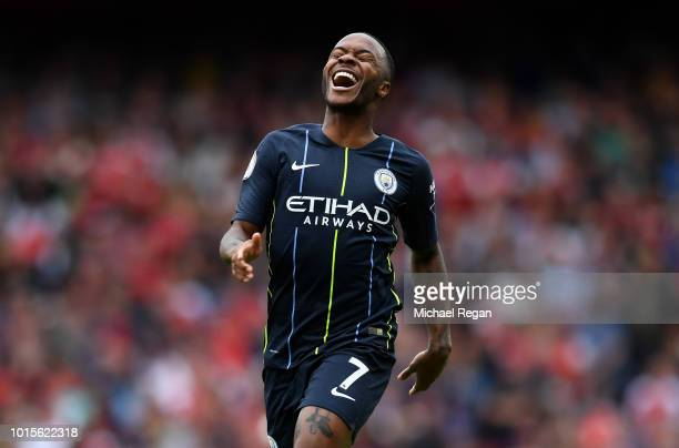 Raheem Sterling of Manchester City reacts during the Premier League match between Arsenal FC and Manchester City at Emirates Stadium on August 12...