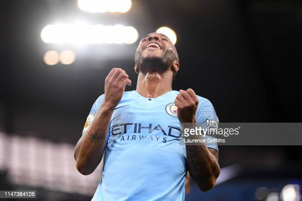 Raheem Sterling of Manchester City reacts during the Premier League match between Manchester City and Leicester City at Etihad Stadium on May 06 2019...
