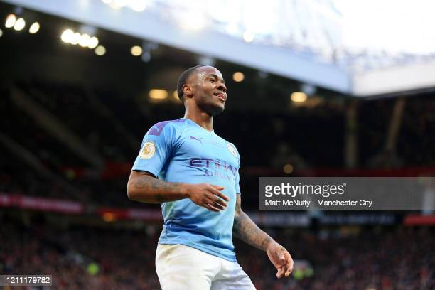 Raheem Sterling of Manchester City reacts during the Premier League match between Manchester United and Manchester City at Old Trafford on March 08...