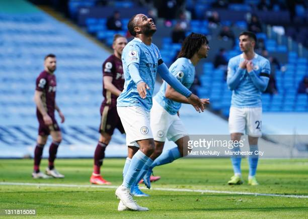 Raheem Sterling of Manchester City reacts during the Premier League match between Manchester City and Leeds United at Etihad Stadium on April 10,...