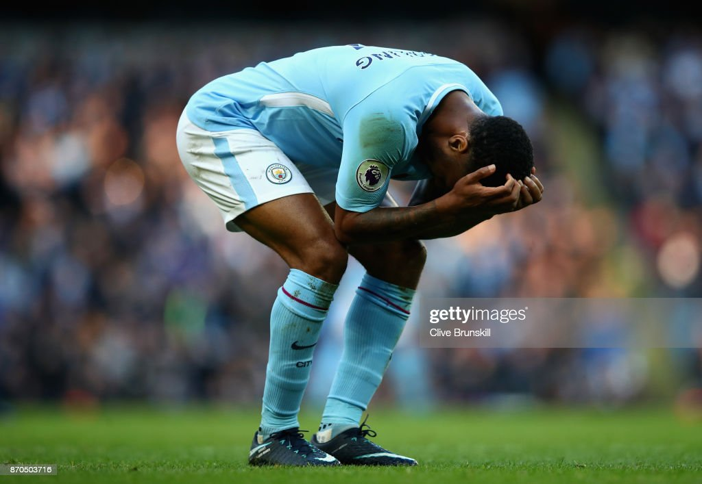 Raheem Sterling of Manchester City reacts during the Premier League match between Manchester City and Arsenal at Etihad Stadium on November 5, 2017 in Manchester, England.