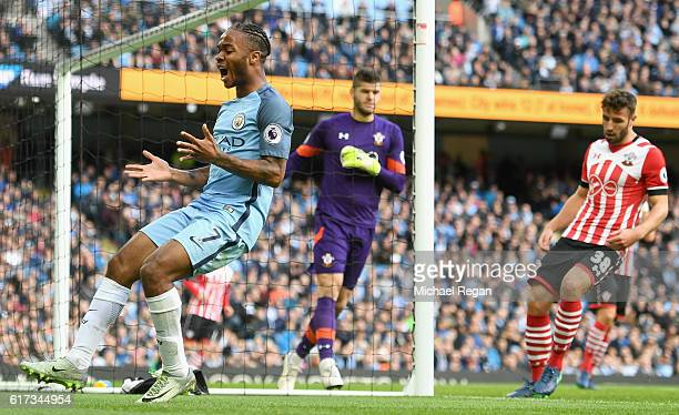 Raheem Sterling of Manchester City reacts to a missed chance during the Premier League match between Manchester City and Southampton at Etihad...